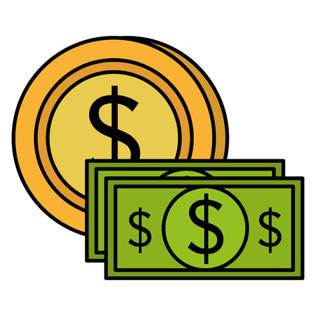 bills and coins dollars money vector illustration design