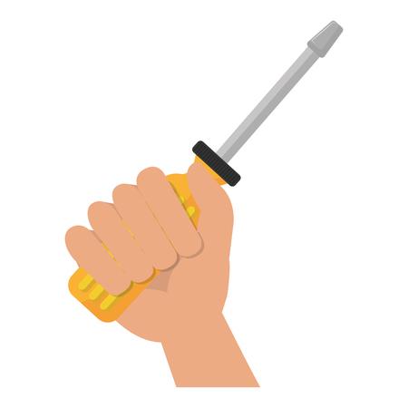 hand with screwdriver tool vector illustration design Reklamní fotografie