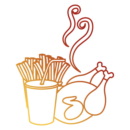 delicious chicken meat with french fries and soda vector illustration design Stock Illustration - 105554757