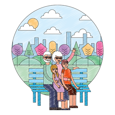 grandparents with grandkids sitting on park bench vector illustration drawing 일러스트