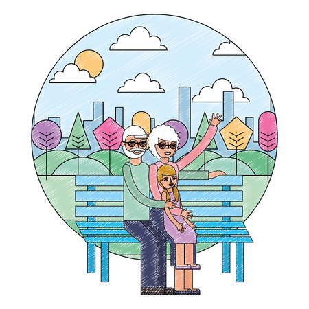 grandparents with granddaughter sit in park bench vector illustration drawing