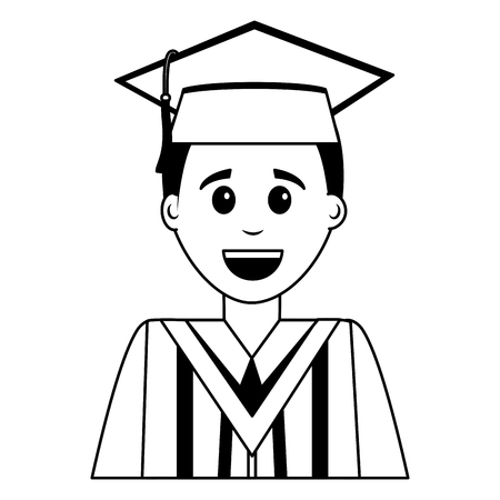happy graduate man portrait character vector illustration