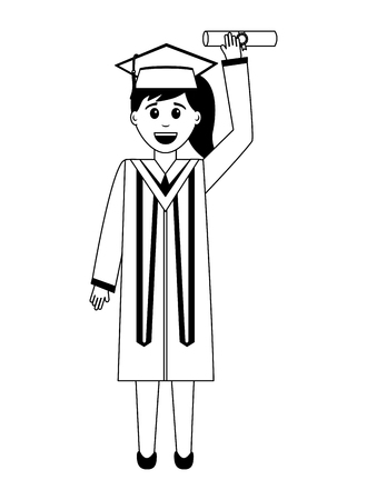 graduate woman in graduation robe and cap holds diploma vector illustration