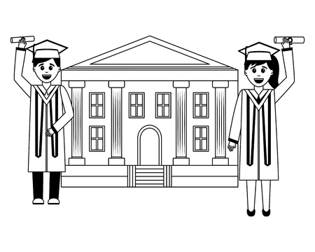 school building and graduates man and woman vector illustration