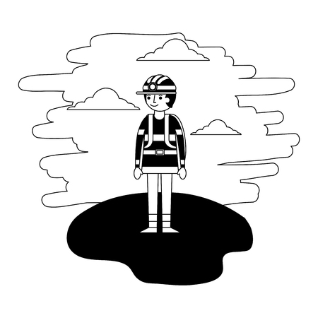 miner man standing in the landscape vector illustration Stock Illustratie