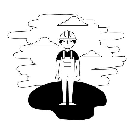 Hombre constructor de pie en la ilustración de vector de paisaje Ilustración de vector