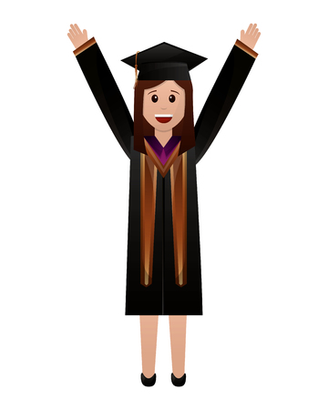 young woman graduated with hands up vector illustration design
