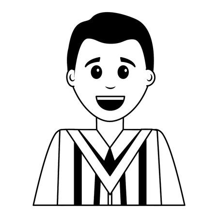 young man graduated avatar character vector illustration design Çizim