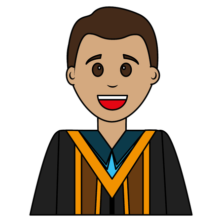 young man graduated avatar character vector illustration design  イラスト・ベクター素材
