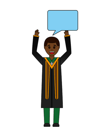 young man graduated with hands up and speech bubble vector illustration design