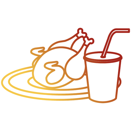 delicious chicken meat with soda drink vector illustration design Stock Illustration - 105554832