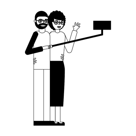 grandfather and grandmother making selfie vector illustration