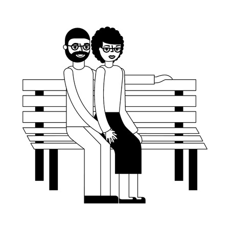 adorable couple grandpa and grandma sitting in bench vector illustration