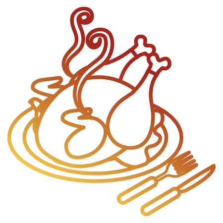 dish with chicken meat and cutleries vector illustration design Stock Illustration - 105554909
