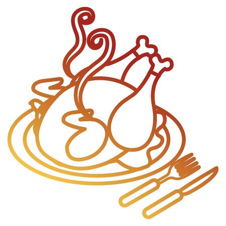 dish with chicken meat and cutleries vector illustration design Standard-Bild - 105554909