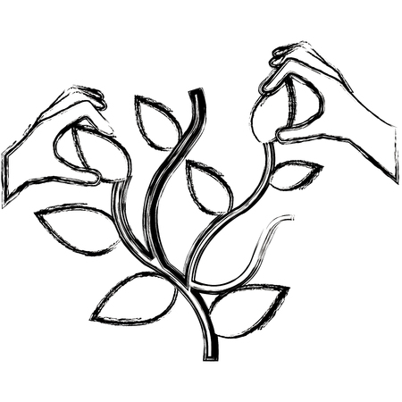 hands with plant ecology vector illustration design