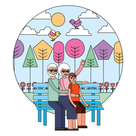 grandparents couple with grandson in chair vector illustration design
