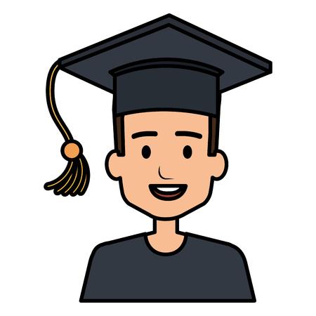 student graduation with uniform vector illustration design