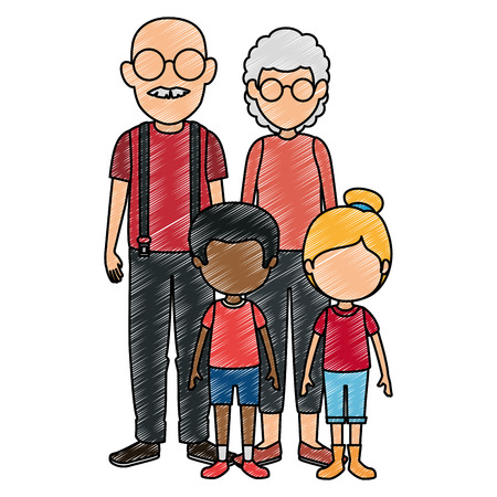 cute grandparents couple with kids characters vector illustration design