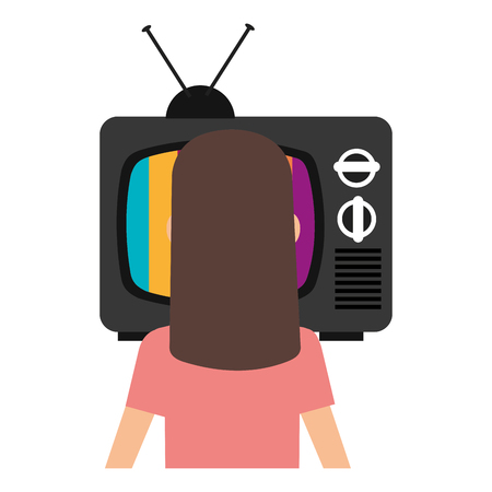 young woman watching television vector illustration design Imagens - 112382713