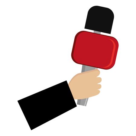 reporter di mano con disegno di illustrazione vettoriale microfono