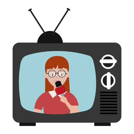 woman news reporter in tv character vector illustration design