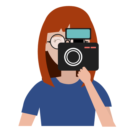 woman photographer with camera vector illustration design