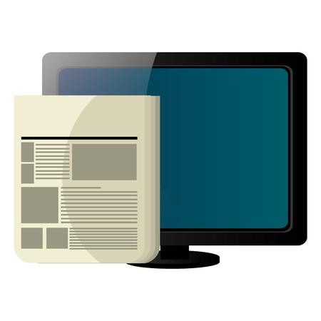 computer desktop display with documents vector illustration design Ilustração