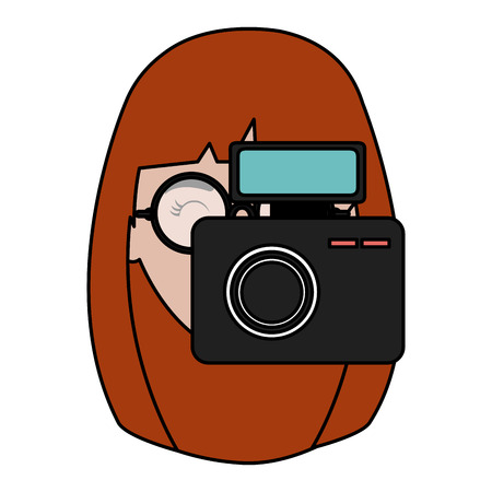 woman photographer with camera vector illustration design Stock Vector - 112382751