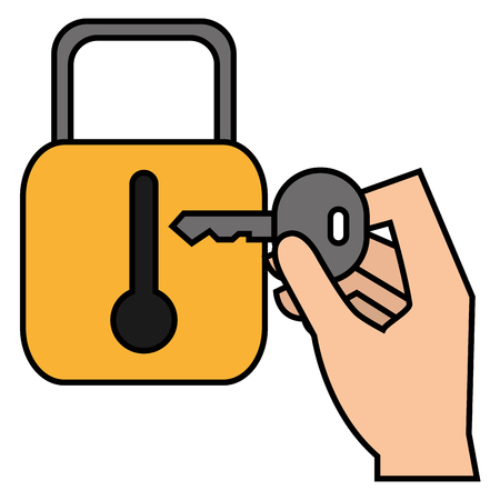 hand with secure padlock and key vector illustration design