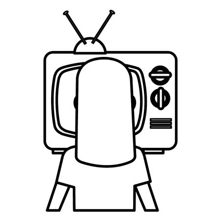 young woman watching television vector illustration design Imagens - 112382761