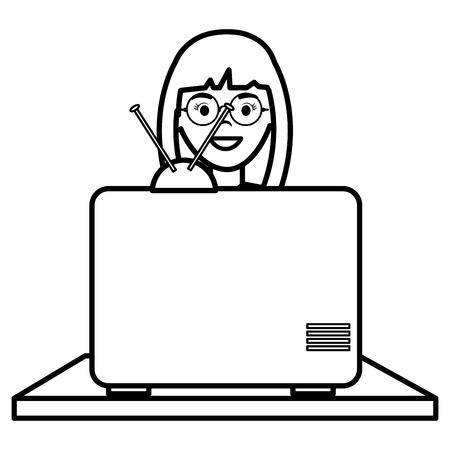 Mujer joven viendo la televisión, diseño de ilustraciones vectoriales