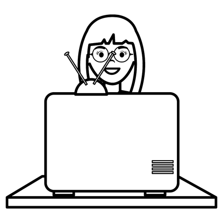 young woman watching television vector illustration design