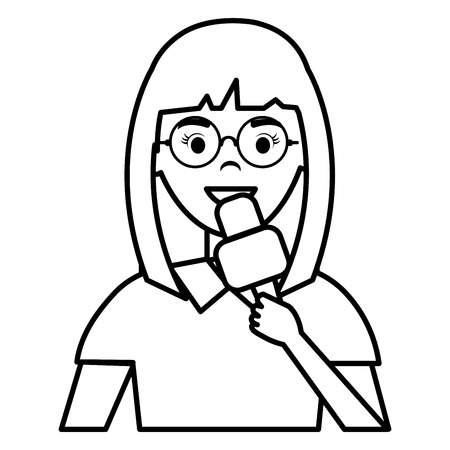 woman news reporter character vector illustration design