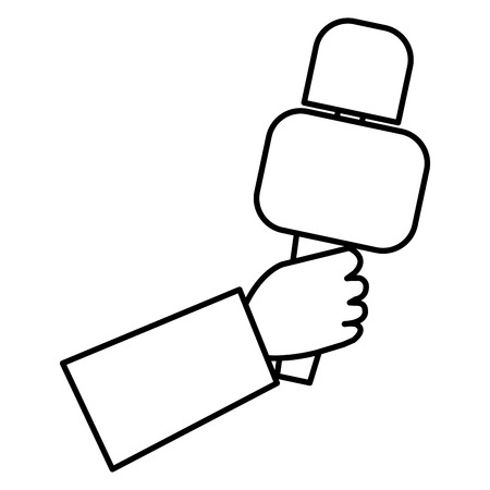 hand reporter with microphone vector illustration design