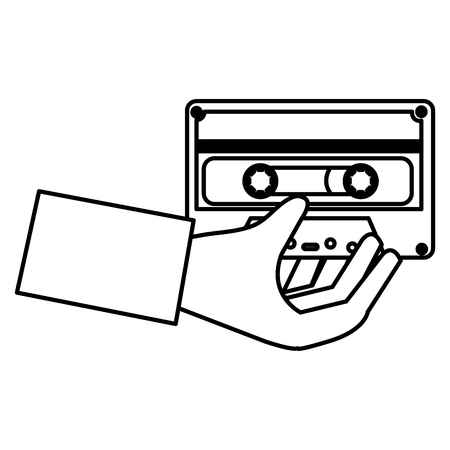 hand with cassette icon vector illustration design
