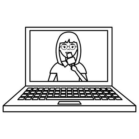 woman news reporter in laptop character vector illustration design Ilustrace