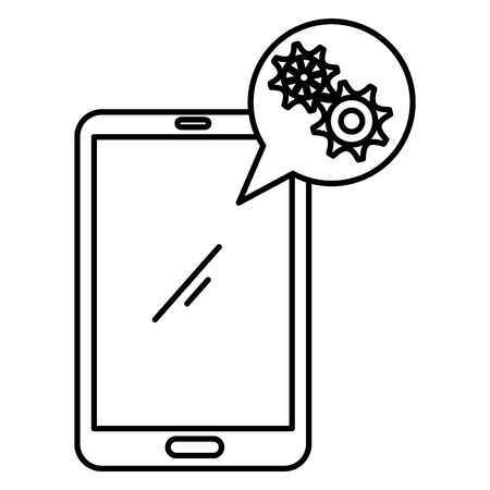 smartphone with speech bubble and gears vector illustration design
