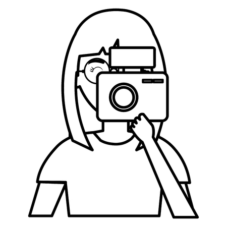 woman photographer with camera vector illustration design Stock Vector - 112382773