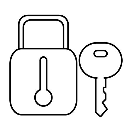 secure padlock and key vector illustration design