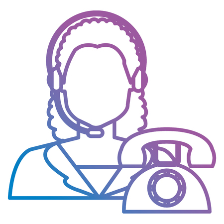 call center woman with headset and telephone vector illustration design