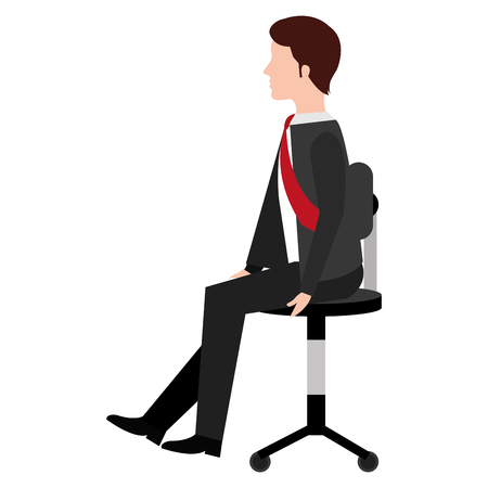 businessman in office chair avatar character vector illustration design 向量圖像