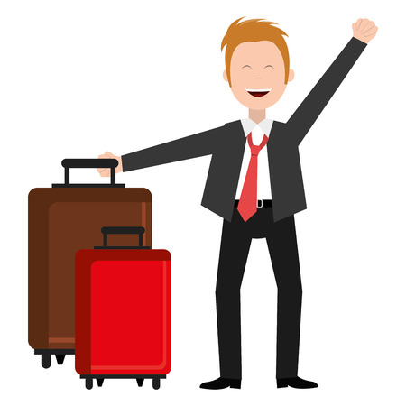 businessman happy with suitcase avatar character vector illustration design