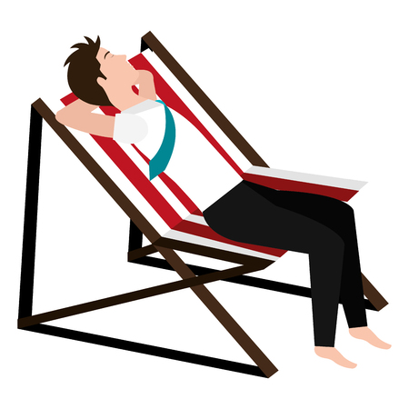 businessman relaxed in beach chair vector illustration design