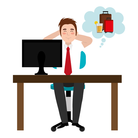 businessman in the office thinking on vacations vector illustration design Illustration