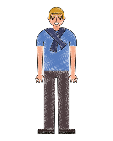 teenage boy standing in casual clothes vector illustration