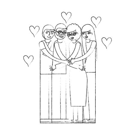 grandparents and mom dad hugging love vector illustration hand drawing Illustration
