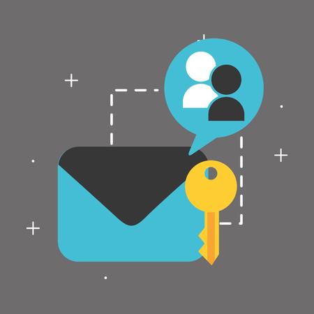 email security key commnunication big data vector illustration