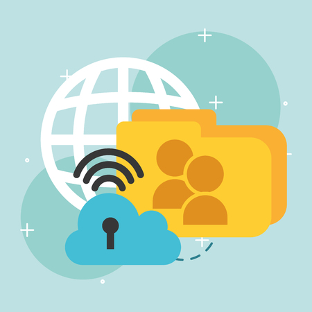 cloud storage folder global wifi internet data vector illustration