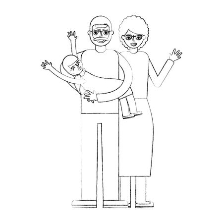grandparents playing with her granddaughter vector illustration hand drawing